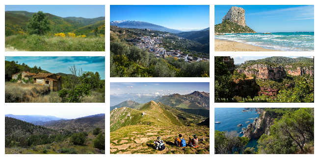 collage showing photos of some of the best and most popular areas for a walking holiday in Spain