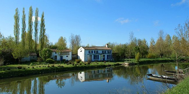 View on canal in the Pays de Gatine in France