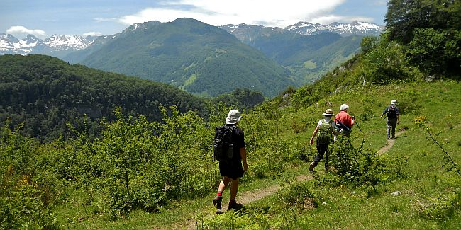 group of people walking in the French Pyrenees