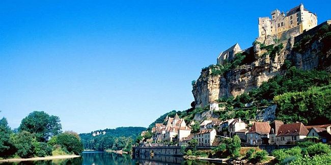 view on beautiful settlement in the Dordogne
