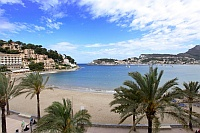View onto the beach of Port Soller
