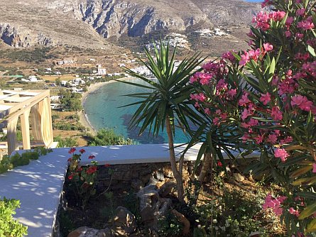 view from a tarrace towards a bay with a beach on Amorgos