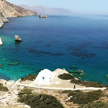 Walking path above a beach in Amorgos
