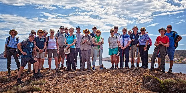 Group of happy walkers on a Menorca walking holiday