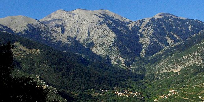 Beautiful mountains in Arcadia, small nested village in the valley