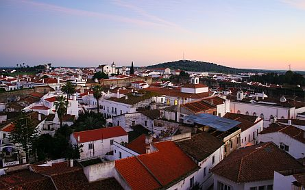 Evening view over the village of Serpa in the Eastern Algarve