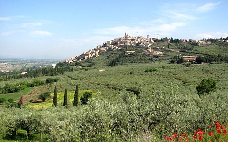 Wide panoramic view towards the Umbrian town of Trevi