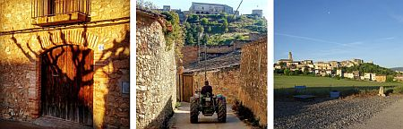 wine-cellar entrance, tractor driving through narrow streets, and view onto Barbera village from a local road