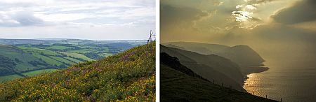 views of exmoor landscape and coastline in somerset