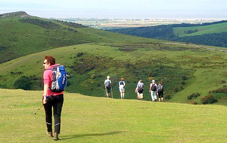 Group of walkers high up in the Mendip Hills