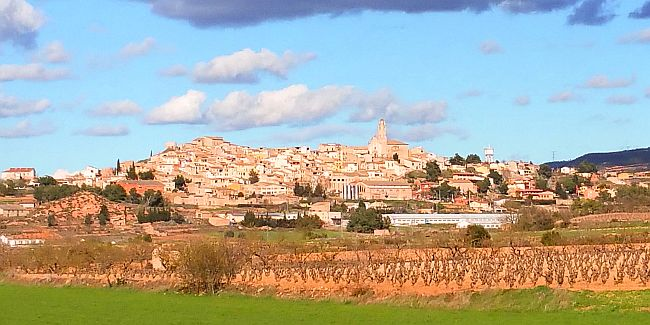 The village of Barbera de la Conca in Spain seen from a distance