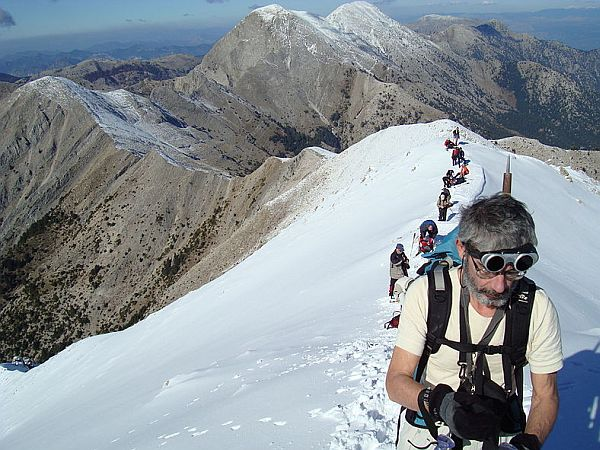 Walkers ascending mount Taygetos during a walking holiday in Greece