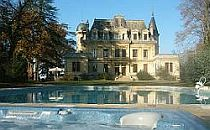 Chateau Gravas, a large wine estate with a swimming pool