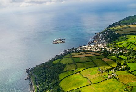 Aerial view of Cornwall coast