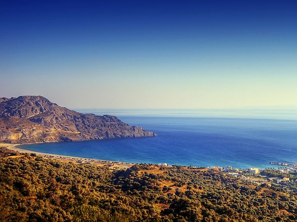 wide view on landscape of Crete in golden early morning light