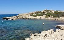 Beautiful blue sea and a rocky beach