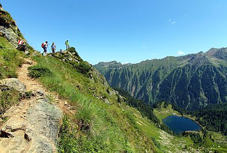 Walkers on a walking holiday in the Dachstein mountains in Austria