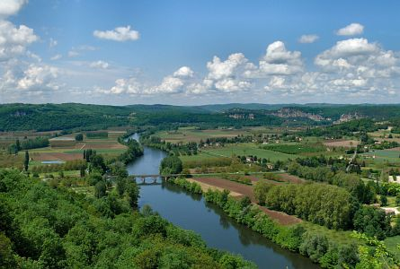 view on river, bridge and rural landscape in the Dordogne, France