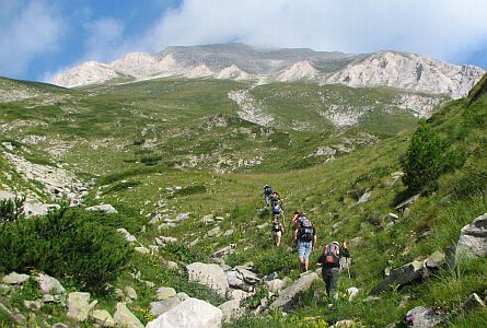 Group of walkers in the Pirin Mountains