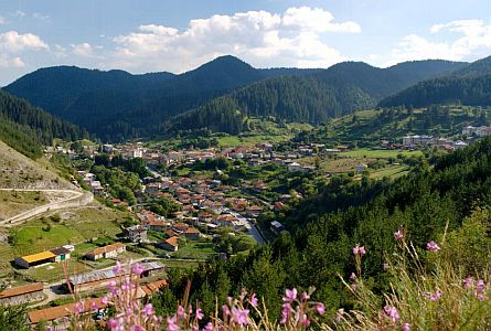 view on village in the Rhodopes region in Bulgaria