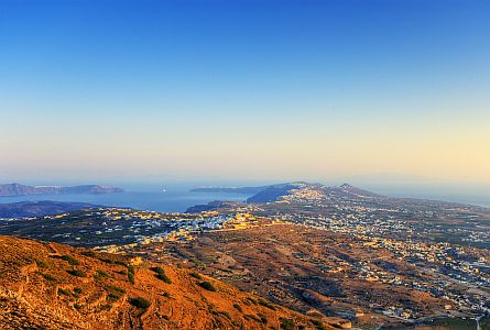 Early morning view over Santorini in Greece