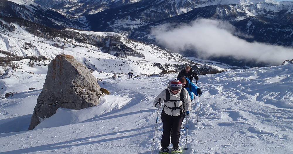 People on a Snowshoeing holiday in the French Alps