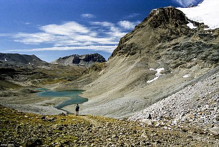 high mountain peaks and lakes in the high alps in France