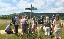 Group of walkers gathered together around a sign for a break