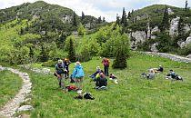 People having a break on a green meadow