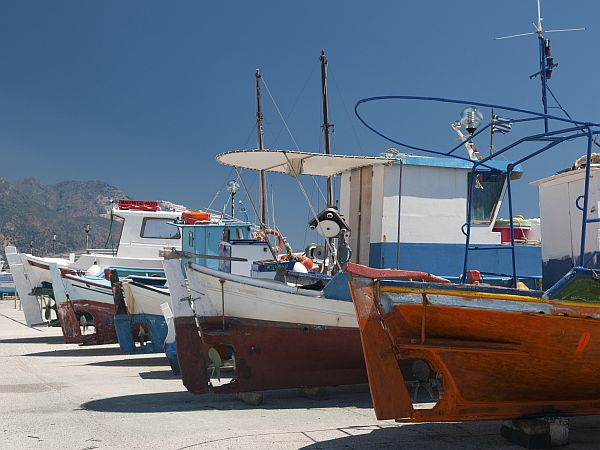 brightly painted fishing boats on Kos island