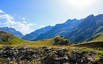 Panoramic view onto mountains of the french Pyrenees