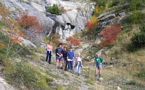 group on a guided walking holiday in the French Alps