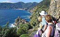 Walkers with a guide looking down from steep cliffs towards the Mediterranean Sea in Liguria in Italy
