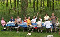 Group of walkers having lunch at a large table beaneath a tree