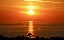 Beautiful golden sunset on the sea