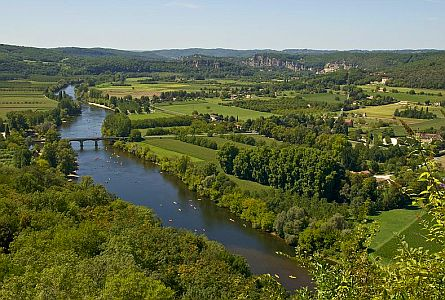 View on mosaic of fields and river valley in the Dordogne