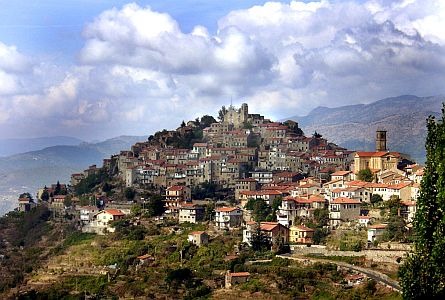 Settlement in top of hill in Liguria