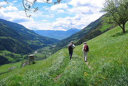 Two people enjoying a walking holiday in Italy