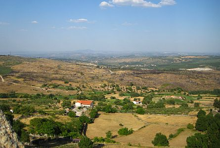 View on hilly rural landscape in Portugal
