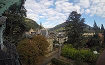 View from the villa towards beautiful montain village in the Pyrenees