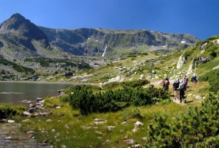 walking holiday group in the Rila mountains in Bulgaria