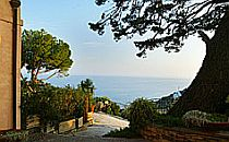 Looking from a terraced garden over the Mediterranean Sea in Italy