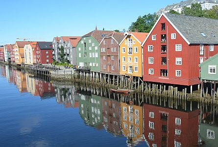 traditional houses along the water in Trondheim in Norway