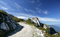 Pair of walkers on a mountain track in Austria