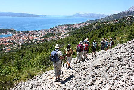 group of walkers on a path near Makarska
