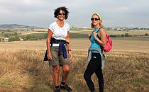 A pair of women hiking in France
