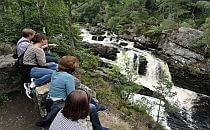 People sitting on a cliff, looking at a waterfall