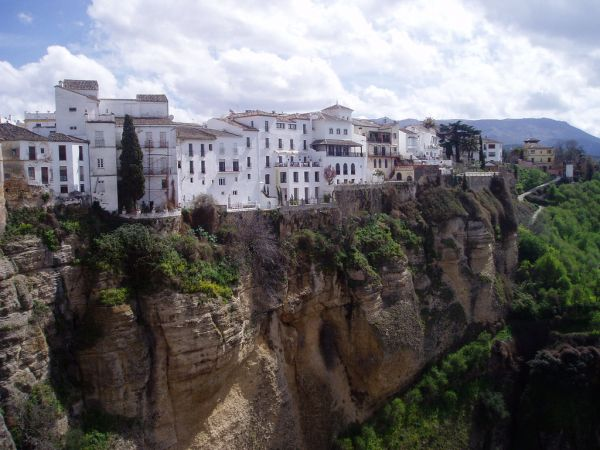 Houses on a cliff in the city of Ronda