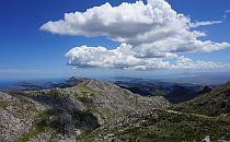 Stunning mointain view, big white clouds above