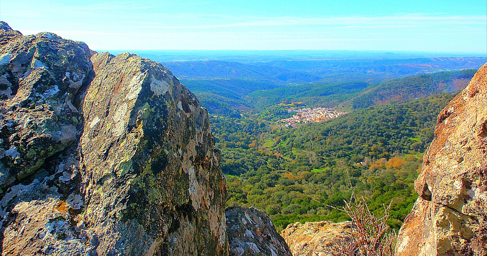 Panorama view behind some rocks